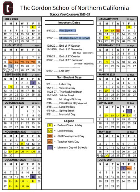 The Gordon School of Northern California Academic Calendar
